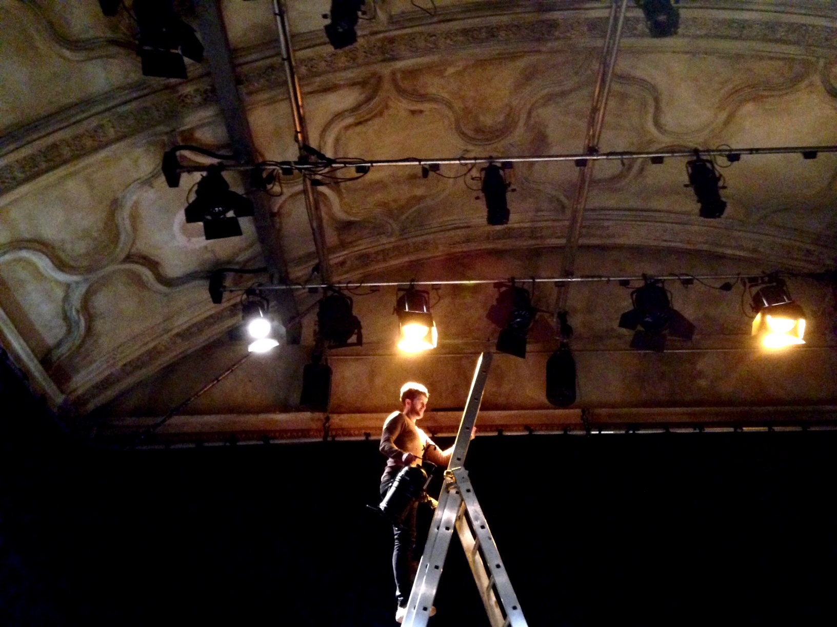 Didn't fancy a selfie for this one. After the Grand Hall, which is being rebuilt following a fire, the Council Chamber is our second largest space. It's been stripped back to its original vaulted ceiling and is used for mid-scale shows, gigs and even weddings which we have to do quick turnarounds for. Here I am setting up a lighting rig for a show in our 'cook up' programme.