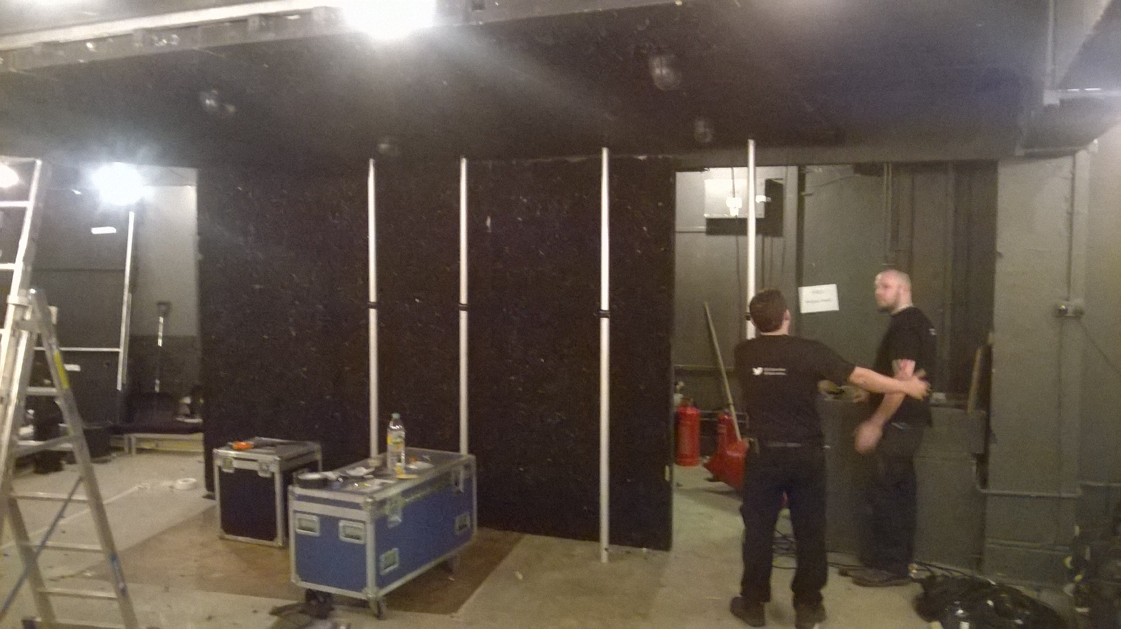 I pop by Found111, the final stop on the Land of Our Fathers national tour, to check on progress of the get in. The play is set down a mine and this space has the perfect claustrophobic atmosphere for it, but as a non-traditional space it has its challenges too. The crew are working so hard!
