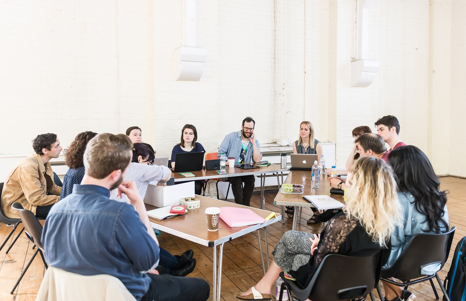 Today the cast and creative team I employed gathered together to read through the script of 'The Quentin Dentin Show' for the upcoming production at the Tristan Bates Theatre. My job at the read-through is to ensure that the whole team are on the same page about what the show is, and what it needs to achieve – to create a cohesive production. (Photo by Lidia Crisafulli.)
