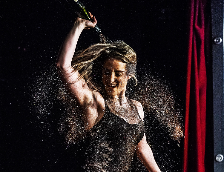 Tonight was the graduation showcase of our Character Cabaret course. Ten weeks of training resulted in a range of acts presented at the Royal Vauxhall Tavern, including a 6ft vagina being brought to life! Here's Clare Walker in the throes of her glitter shower to 'Pour Some Sugar on Me' by Def Leppard. (image: John Wilson)