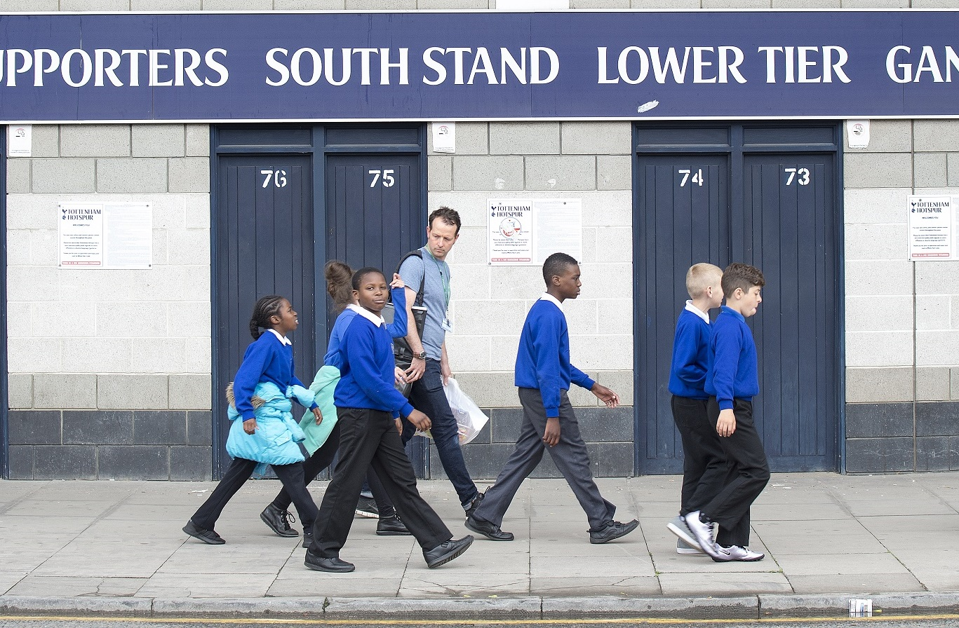 During the final weeks of the project, pupils visited each other's schools and led tours for schools visiting their own artworks. (PHOTO: John M Fulton)