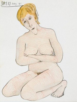 Drawing of a naked woman kneeling with her armws crossed