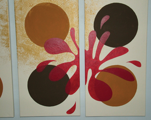 A red and brown abstract painting