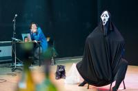 Production shot with cloaked figure