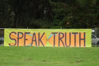 Photo of banner: Speak Truth