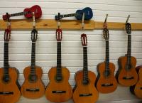 Photo of guitars hanging from wall