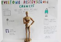 Image of wooden man and notes