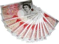 Fifty pound notes in fan