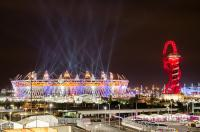 Olympic stadium and The Orbit sculpture during London Olympics opening ceremony