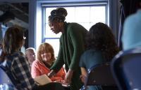 Photo of Amanda Huxtable leading a workshop