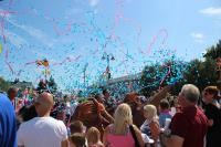 Photo of an explosion of confetti in Dagenham Village