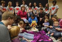 Fiona Hyslop and Janet Archer with Scottish Book Trust Bookbug toddler reading group