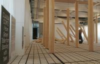A photo of an art installation of collapse pillars in Denmark