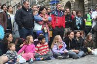 Crowd watching street theatre