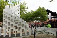 Photo of outdoor installation of white dominoes