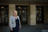 Karen Bradley outside the Liverpool Philharmonic Hall