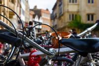 bicycles on racks in Cambridge