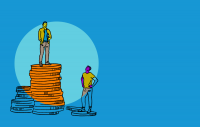 Illustration of a person standing on top of coins looking at another person