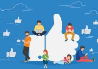 Cartoon of Facebook's thumbs up and young people