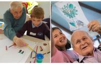Photos of children making art with older people