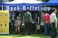 Image of book stalls at literary festival