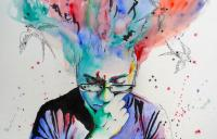 Illustration of thinking man with colours swirling from his head