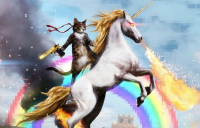 Photo of a cat riding a unicorn