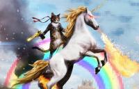 Photo of a cat riding a unicorn