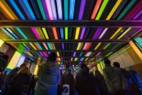 Crowed looking at coloured lights on a tunnel