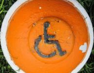 Photo of disabled sign in paint tub