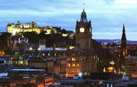 A photo of Edinburgh at night