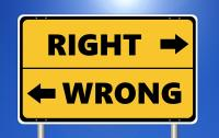 Image of right-wrong direction sign