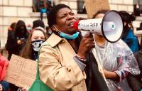 Protester with a megaphone at a Black Lives Matter march in London