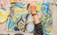 image of a hand painting