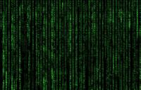 The matrix code; green lettering falling down a dark background