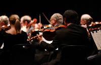 A photo of violinists playing in an orchestra