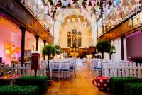 Photo of venue dressed up for wedding