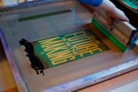 Photo of screenprinting poster of 'Our Future is in the Making'