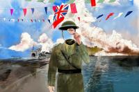 Poster of soldier with flags