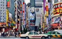 Bustling city centre scene in Shinjuku, Tokyo