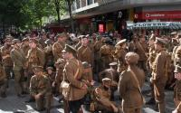 A photo of a group of people dressed as WW1 soldiers in Birmingham
