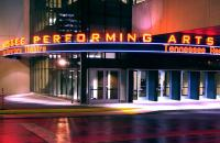 Photo of exterior of theatre at night