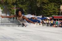 Dancer pictured mid flight
