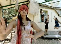 Photo of woman wearing blindfold