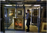 Image of paintings in storeroom