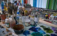 painting materials in an artist's studio
