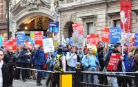 Climate change protestors outside Burlington House
