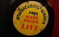 Musicians' Union 'keep music live' sticker
