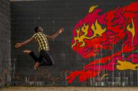 Photo of a leaping man