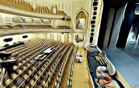 A digital rendition of a theatre in a surrealist style